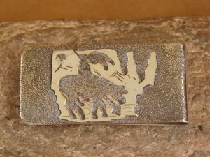 Navajo Indian Jewelry Hand Etched Trail of Tears Money Clip! R. Begay