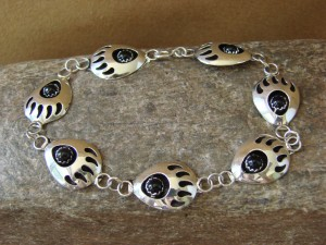 Navajo Indian Onyx Bear Paw Link Bracelet! Sterling Silver!