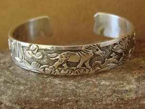 Native American Jewelry Sterling Silver Storyteller Horse Bracelet - Becenti BB0193
