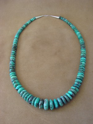 Native American Indian Hand Strung Turquoise Graduated Rondelle Bead Necklace