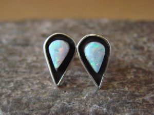 Zuni Indian Sterling Silver Shadowbox Opal Post Earrings by Kallestewa