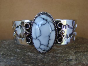 Native American Jewelry Nickel Silver White Howlite Bracelet by Jackie Cleveland!