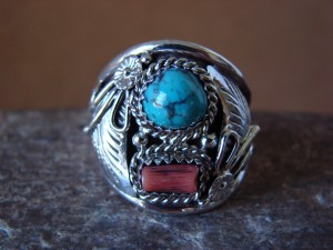 Navajo Jewelry Sterling Silver Turquoise and Coral Men's Ring by Spencer! Size 11 1/2