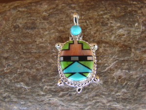Zuni Indian Sterling Silver Turquoise, Coral Inlay Turtle Pendant! Bailey Gia TT0138