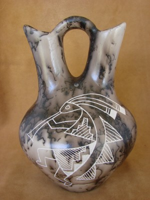 Native American Pottery Horse Hair Kokopell Wedding Vase by Gary Yellow Corn!