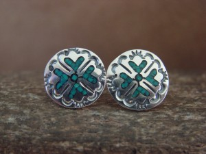 Navajo Indian Jewelry Sterling Silver Stamped Chip Inlay Post Earrings by J. Yazzie