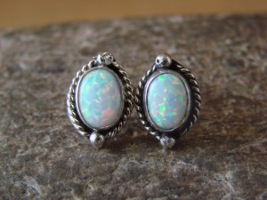 Navajo Indian Sterling Silver Oval Opal Post Earrings! Jan Mariano