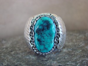 Navajo Jewelry Sterling Silver Turquoise Men's Ring by Spencer! Size 12