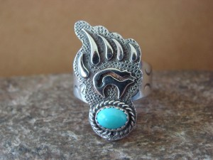 Native American Stamped Sterling Silver & Turquoise Bear Ring, Size 9