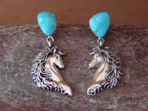 Navajo Indian Jewelry Sterling Silver Turquoise Horse Earrings! by M. Smith