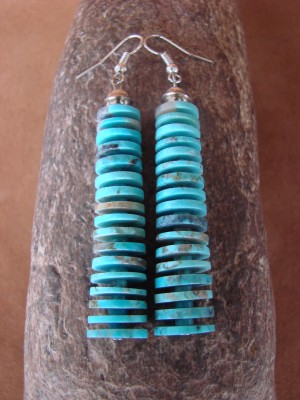 Santo Domingo Hand Strung Turquoise Disk Earrings by Emory Calabaza
