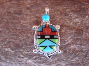 Zuni Indian Sterling Silver Turquoise, Coral Inlay Turtle Pendant! Bailey Gia TT0139