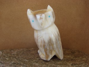 Zuni Indian Hand Carved  Antler Owl Fetish by Brandon Phillips!