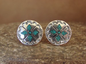 Navajo Indian Jewelry Sterling Silver Hand Stamped Chip Inlay Post Earrings by J. Yazzie