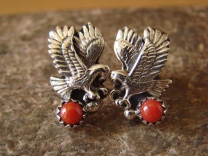 Native American Jewelry Sterling Silver Coral Eagle Post Earrings!
