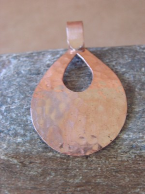 Navajo Indian Jewelry Tear Drop Copper Hammered Pendant! Handmade by Douglas Etsitty