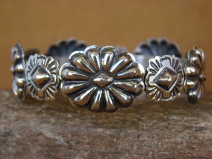 Navajo Indian Jewelry Sterling Silver Stamped Bracelet by Tim Yazzie