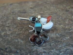 Zuni Indian Sterling Silver Multi-Stone Inlaid Hummingbird Pendant by Allpowa