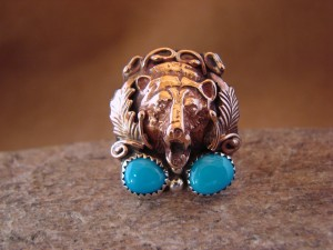 Native American Indian Hand Stamped Copper & Turquoise Bear Ring, Size 9.5