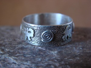 Native American Sterling Silver Stamped Petroglyph Ring by Skeets Size 10