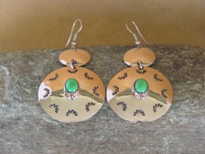 Navajo Indian Jewelry Copper Gaspeite Dangle Earrings by Iva Sifuentes