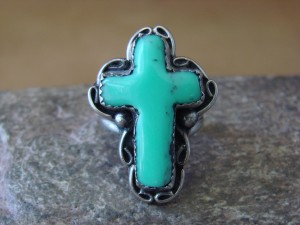 Native American Nickle Silver Turquoise Cross Ring Size 4 1/2, by Phoebe Tolta