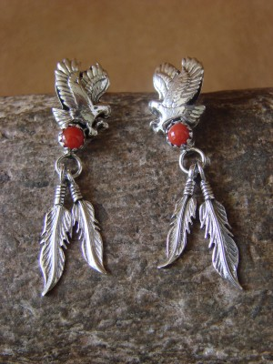 Native American Jewelry Sterling Silver Coral Eagle Earrings! Yazzie