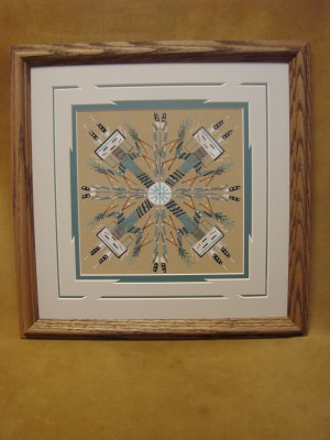 Native American Indian Authentic Navajo Sandpainting by Darlene Thomas