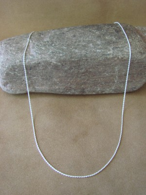 """Southwestern Jewelry Sterling Silver Rope Chain Necklace 22"""" Long x 1MM"""