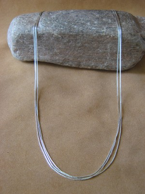 "Southwestern Jewelry 3 Strand Liquid Sterling Silver 24"" Necklace"