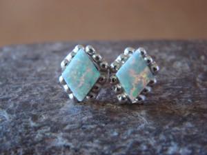 Zuni Indian Jewelry Sterling Silver Rectangular White Opal Post Earrings!