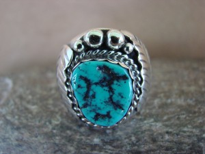 Navajo Jewelry Sterling Silver Turquoise Men's Ring by Spencer! Size 11