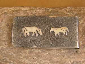 Navajo Indian Jewelry Hand Etched Appaloosa Horses Money Clip! R. Begay