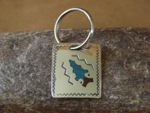 Native American Jewelry Sterling Silver Inlay Key Chain