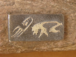 Navajo Indian Jewelry Hand Etched Wolf Money Clip! R. Begay