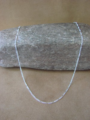 """Southwestern Jewelry Sterling Silver Figaro Chain Necklace 18"""" Long x 1MM"""