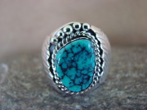 Navajo Jewelry Sterling Silver Turquoise Men's Ring by Spencer! Size 10 1/2