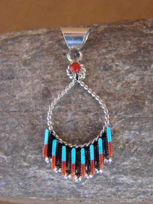 Zuni Indian Sterling Silver Needle Point Turquoise Coral Pendant