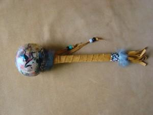 Native American Navajo Indian Handmade & Hand Painted Rawhide Rattle!