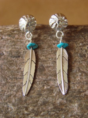 Native American Indian Jewelry Sterling Silver Turquoise Feather Earrings - Marvin Arviso