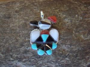 Zuni Indian Sterling Silver Inlay Eagle Pendant! Kanteena