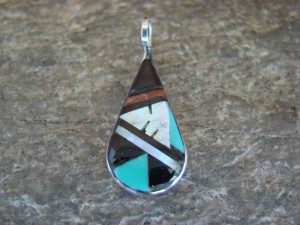 Zuni Indian Sterling Silver Mother of Pearl and Turquoise Inlay Pendant! Niiha