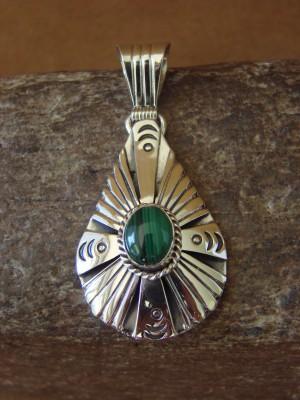 Native American Jewelry Sterling Silver Malachite Pendant by Attakai