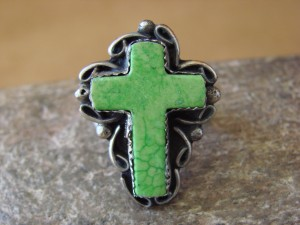 Native American Nickle Silver Gaspeite Cross Ring Size 7 1/2, by Phoebe Tolta