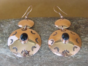 Navajo Indian Jewelry Copper Onyx Dangle Earrings by Iva Sifuentes