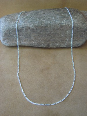 """Southwestern Jewelry Sterling Silver Figaro Chain Necklace 22"""" Long x 1MM"""