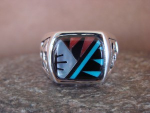 Zuni Indian Sterling Silver Turquoise Inlay Ring Size 11 1/2 - Leslie Lamy