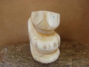 Zuni Indian Hand Carved  Antler Snake Fetish by Brandon Phillips!
