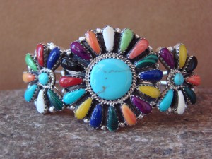 Navajo Indian Jewelry Sterling Silver Turquoise and Gemstone Cluster Bracelet! BB0200
