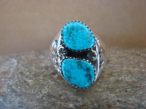 Native American Jewelry Sterling Silver 2 Stone Turquoise  Ring!  Size 10